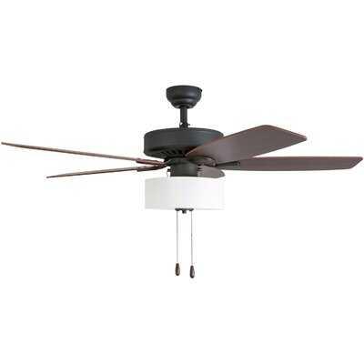 """52"""" Sybilla 5 Blade Ceiling Fan, Light Kit Included-3 Speed Remote - Birch Lane"""