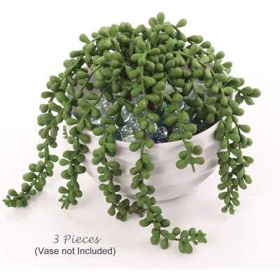 """3 PACK String Of Pearls Hanging Succulent Plant, Artificial Plant, 13"""" Lg, Natural Green Hues, Home, Wall, Garden, DIY Ready - Wayfair"""