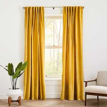 "Cotton Velvet Curtain Dark Horseradish 48""x84"" - West Elm"