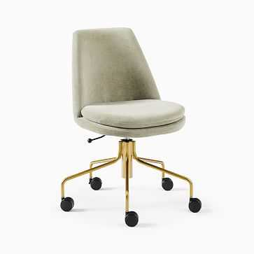 Finley Collection Office Chair, Performance Velvet, Light Taupe, Antique Brass - West Elm