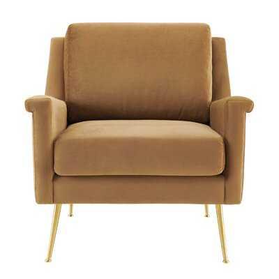 Shaikh Performance Velvet Armchair In Gold Cognac - Wayfair