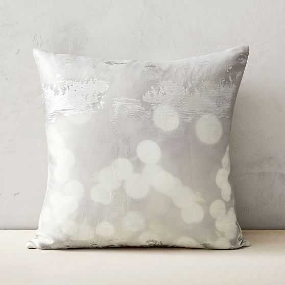 """Glimmer Brocade Pillow Cover , Set of 2, Silver, 24""""x24"""" - West Elm"""