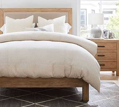 Beck Ruched Cotton Duvet Cover, Full/Queen, Flax - Pottery Barn
