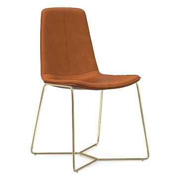 Slope Dining Chair, Vegan Leather, Saddle, Antique Brass - West Elm