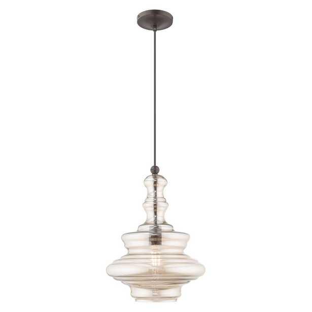 Livex Lighting 1-Light English Bronze Art Glass Mini Pendant - Home Depot