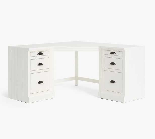 Aubrey Corner Desk with Lateral File Cabinets, Dutch White - Pottery Barn