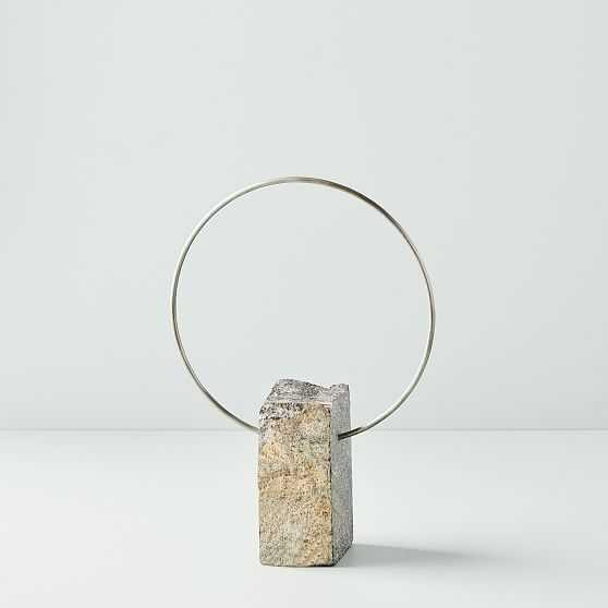 River Rock & Metal Sculpture, Brass, Small, Set of 2 - West Elm