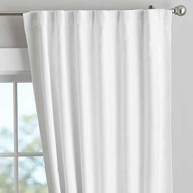 """Classic Linen Blackout Curtain - Set of 2, 84"""", White - Pottery Barn Teen"""