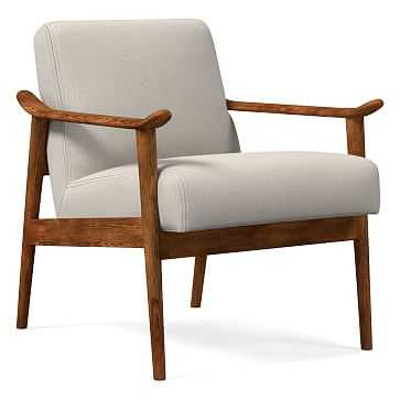 Midcentury Show Wood Chair, Poly, Yarn Dyed Linen Weave, Alabaster, Pecan - West Elm