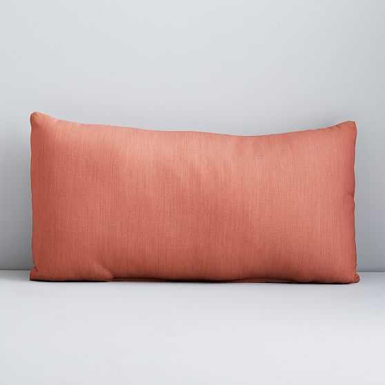 """Sunbrella Solid Indoor/Outdoor Cast Lumbar Pillow, Coral, Set of 2, 12""""x21"""" - West Elm"""
