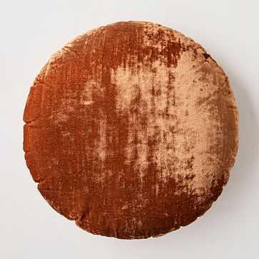 Round Lush Velvet Pillow, Copper - West Elm