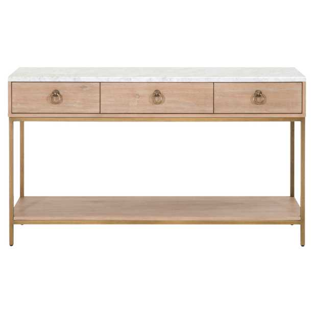Carol Modern Classic White Marble Top 3-Drawer Brushed Gold Console Table - Kathy Kuo Home