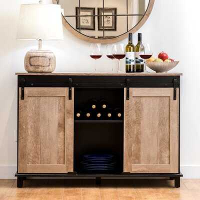 Modern Industrial Black Wine Bar Cabinet With Natural Top And Sliding Doors. - Wayfair