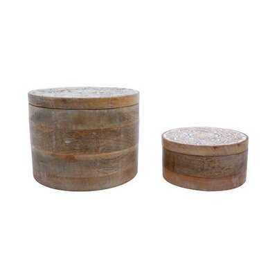 Carved 2 Piece Solid Wood Box Set - Wayfair