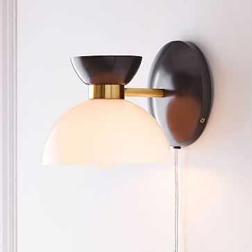 Hourglass 1 Light Sconce, Bronze + Brass - West Elm