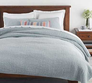 Stonewashed Pickstitch Cotton Quilt, King/Cal King, Sky Blue - Pottery Barn