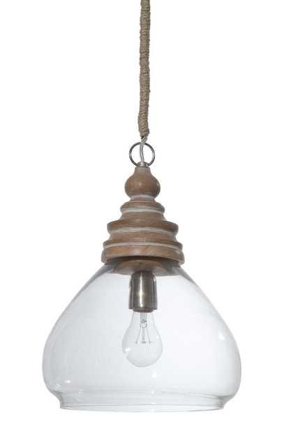 Glass & Mango Wood Pendant Light - Nomad Home