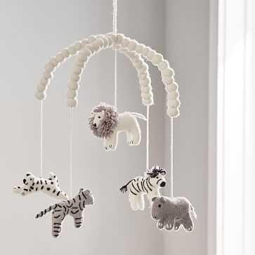 Safari Animal Felt Mobile, Black & White, WE Kids - West Elm