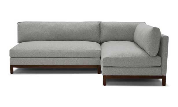 Gray Arwen Mid Century Modern Corner Sectional - Sunbrella Premier Fog - Mocha - Right - Joybird