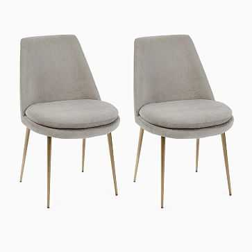 Finley Low Back Dining Chair,Distressed Velvet,Dune,Light Bronze Set of 2 - West Elm