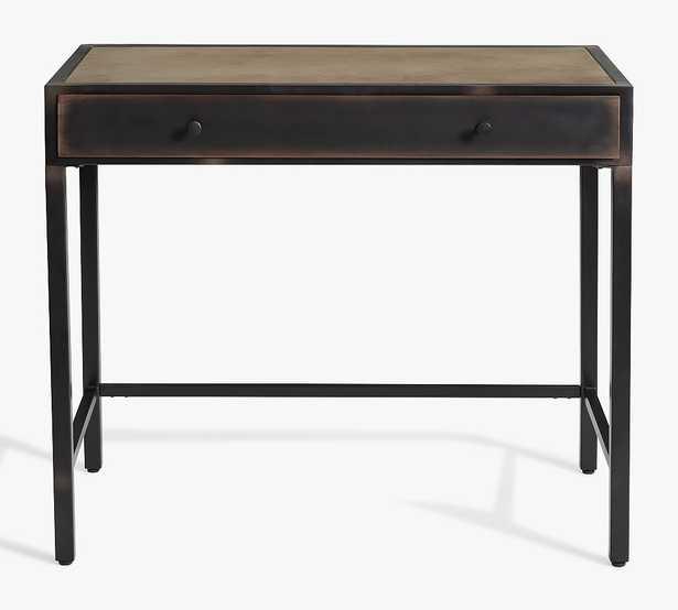 "Flynn 36"" Metal Writing Desk with Drawer, Black - Pottery Barn"