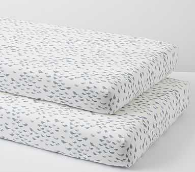 Organic Watercolor Whale Crib Fitted Sheet Set of 2, Navy - Pottery Barn Kids