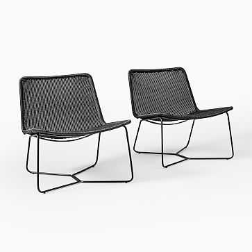 Slope Charcoal Lounge Chairs, Set of 2 - West Elm