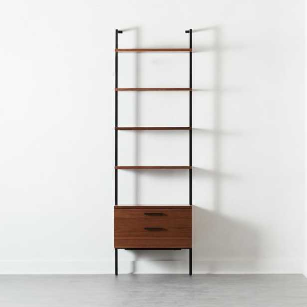 """Helix 96"""" Walnut Bookcase with 2 Drawers - CB2"""