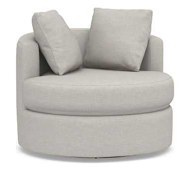 Balboa Upholstered Swivel Armchair, Polyester Wrapped Cushions, Heathered Twill Stone - Pottery Barn