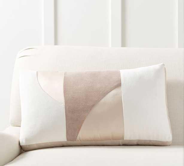 "Pieced Abstract Lumbar Pillow, 14 x 24"", Neutral Multi - Pottery Barn"