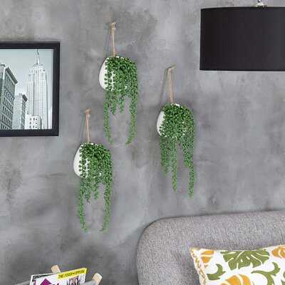 3 Piece Wall-Hanging Artificial Pearls Plants - Wayfair