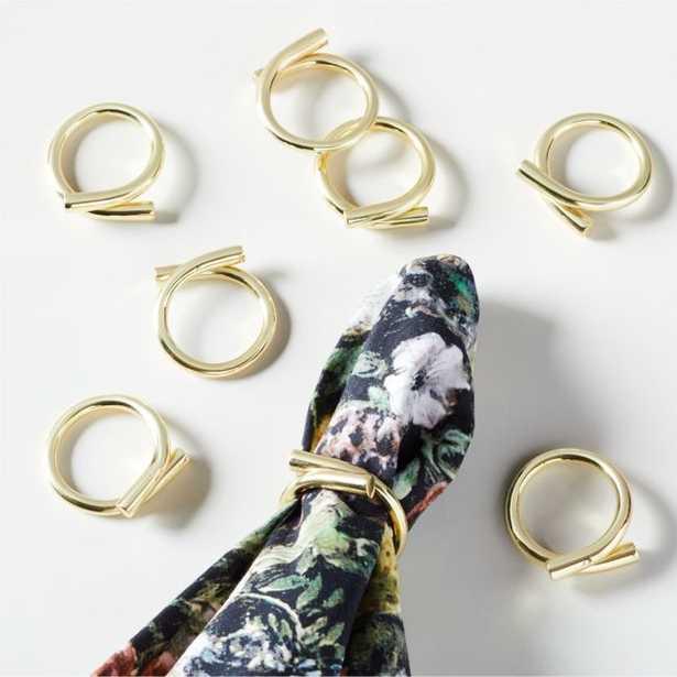 Lombardi Gold Napkin Rings Set of 8 - CB2