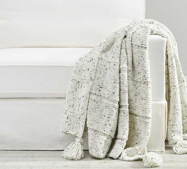 """Donegal Fringe Throw, 50 x 60"""", Ivory - Pottery Barn"""