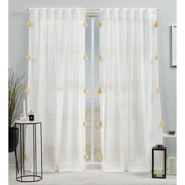 Amalgamated Textiles Demi Light Filtering 54 in. W x 84 in. L Hidden Tab Top Curtain Panel in Yellow (2 Panels) - Home Depot