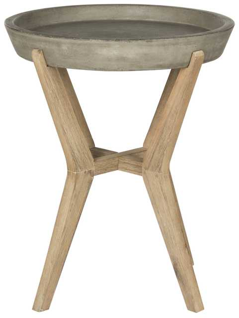 Celeste Indoor/Outdoor Modern Concrete Round 21.2-Inch H End Table - Dark Grey - Arlo Home - Arlo Home