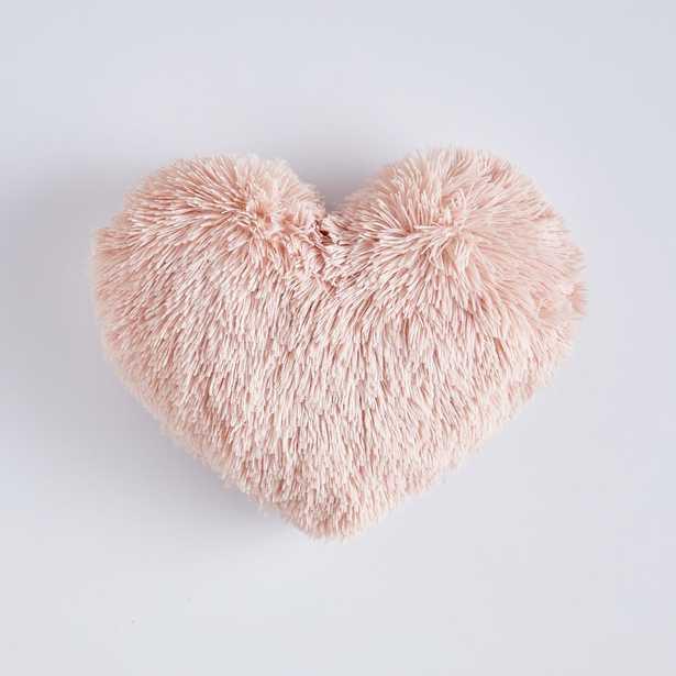 """St. Jude Fluffy Heart Pillow, 16"""" x 14"""", Quartz Blush - Pottery Barn Teen"""