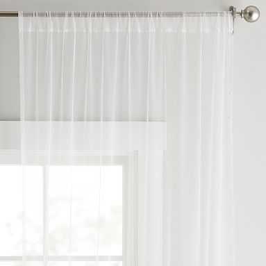 "Tulle Sheer Curtain Panel, 84"", White/Gold - Pottery Barn Teen"
