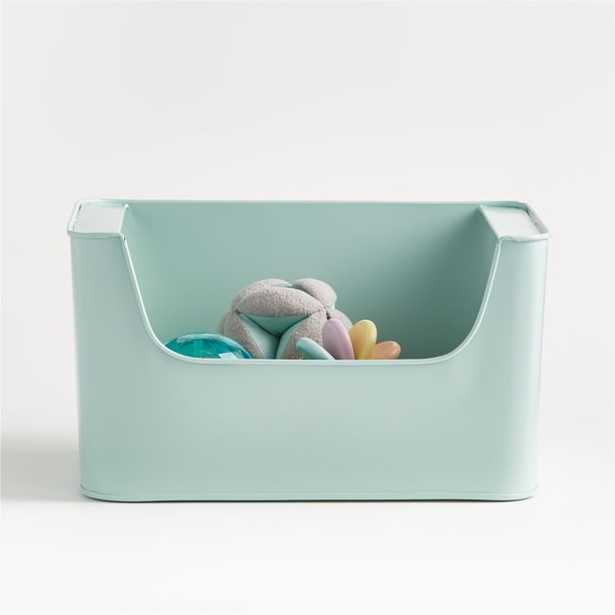 Small Mint Metal Stacking Storage Bin - Crate and Barrel