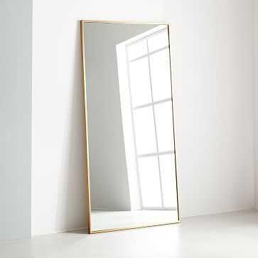 Metal Frame Oversized Floor Mirror, Antique Brass - West Elm