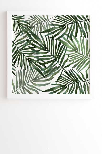 "Watercolor Simple Leaves by Marta Barragan Camarasa - Framed Wall Art Basic White 30"" x 30"" - Wander Print Co."