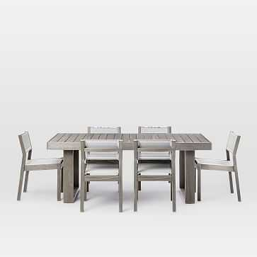 Portside Dining Table Set: Expandable Table + 6 Textiline Chairs, Weathered Gray - West Elm