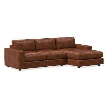 Urban Sectional Set 01: Left Arm 2 Seater Sofa, Right Arm Chaise, Poly, Weston Leather, Molasses - West Elm