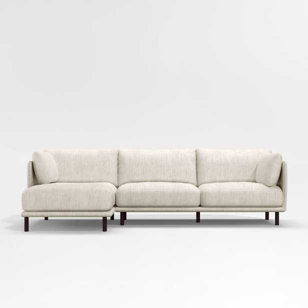 Wells 2-Piece Chaise Sectional with Dark Brown Leg Finish (LEFT CHAISE) - Crate and Barrel