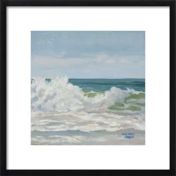 "Teal Ocean with Cascading Foam Wave - 16""x16"" - Artfully Walls"