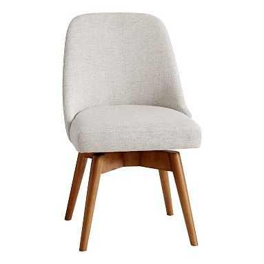 west elm x pbt Mid-Century Swivel Desk Chair, Boucle Twill Stone + Pecan Wood Base - Pottery Barn Teen