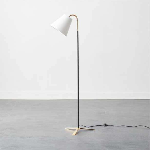 Barnes Brass and Black Leather Floor Lamp - CB2