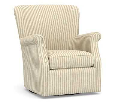 SoMa Minna Upholstered Swivel Armchair, Polyester Wrapped Cushions, Vintage Stripe Khaki/Ivory - Pottery Barn