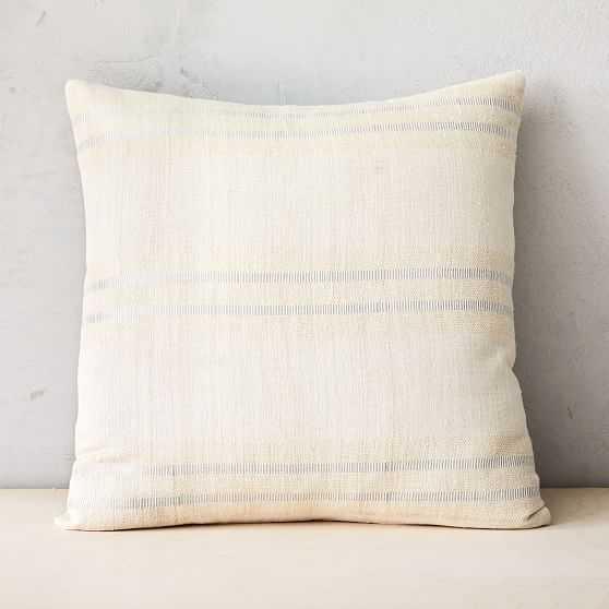 "Silk Stripes Pillow Cover, 20""x20"", Metallic Silver - West Elm"