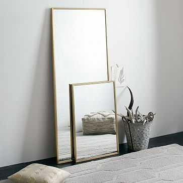 Metal Framed Floor Mirror, Antique Brass - West Elm