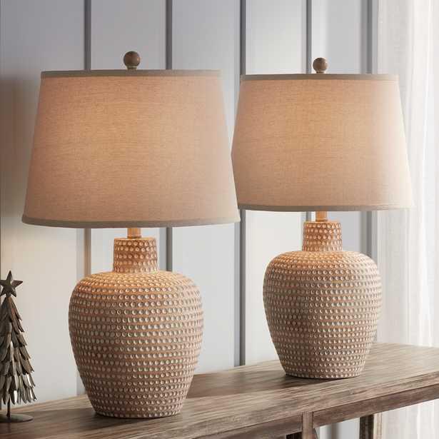 Glenn Dappled Beige Southwest Style Pot Table Lamps Set of 2 - Style # 88M09 - Lamps Plus